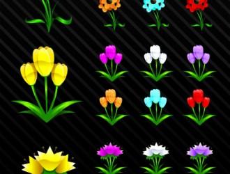 3 tipi di fiori 3 different flowers vettoriali gratis for Tipi di fiori