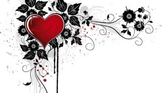 cuore con foglie e fiori – heart with flowers and leaves