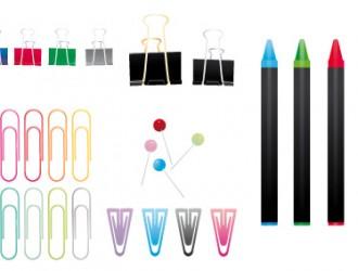 graffette, colori a cera, spilli, ganci – staples, colored wax, pins, hooks