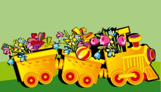 trenino con fiori e regali – train with flowers and gifts