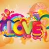scritta Love colorata – Colorful Love