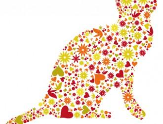 gatto di fiori e cuori – floral cat