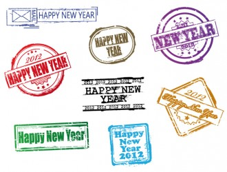 timbri Happy New Year – stamps Happy New Year