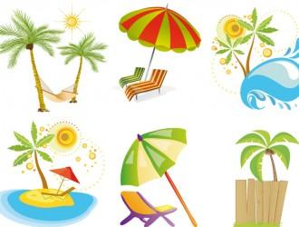 estate, palme, ombrellone – summer elements