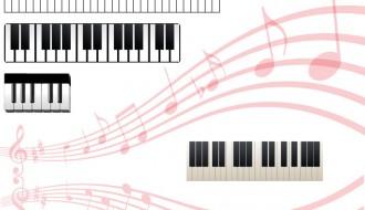 4 tastiere piano con pentagramma – music keyboards