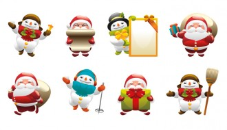 icone Babbo Natale pupazzo neve – Santa Claus snowman icons