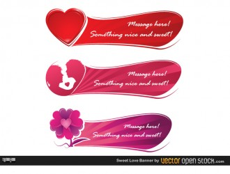 3 banner amore – sweet love banner set