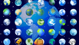 icone globo terrestre – earth globe icons set