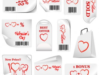 Targhette San Valentino – Valentine Sticker Bar Codes Hearts