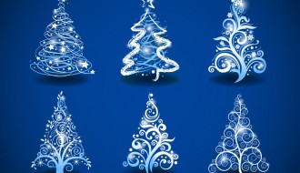 6 alberi Natale sfondo blu – Christmas Trees on Blue Background