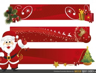 3 banner rossi Natale – red Christmas banner