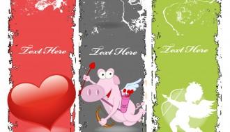 3 banner San Valentino – grunge Valentines banners