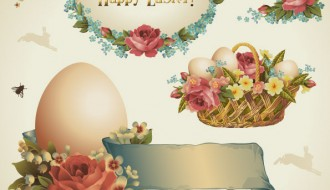 Easter elements eggs flowers – cesto uova Pasqua