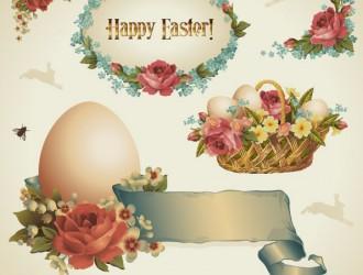 Easter elements eggs flowers – cesto uova Pasqua