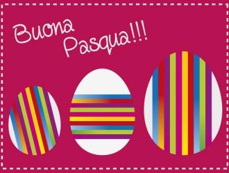 buona Pasqua 3 uova strisce colorate – colored Easter Eggs