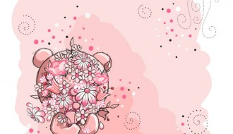 orsetto con fiori – bear with pink flowers