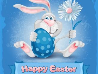 coniglio Pasqua uovo fiore – Easter bunny with egg