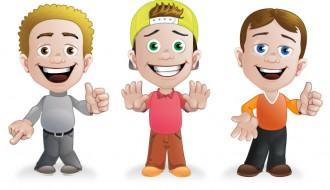 3 boy cartoon – sagome ragazzi
