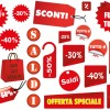 saldi, sconti – red sale labels