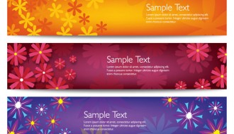 3 banner fiori – colorful vector flower banners