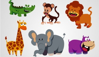 6 animali selvaggi – wild animals in funny cartoons