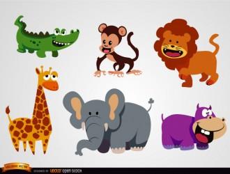 6 animali selvaggi – wild animals in funny cartoons