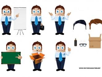 6 sagome uomo affari – Businessman Man in 6 Postures