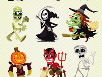 11 personaggi Halloween – Halloween cartoon characters set