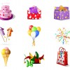 9 icone festa compleanno – birthday party icons