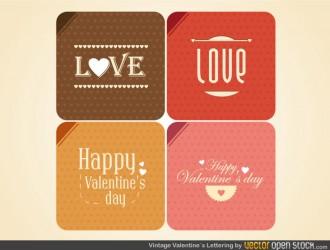 4 bigliettini San Valentino – Valentine Postcard Vintage