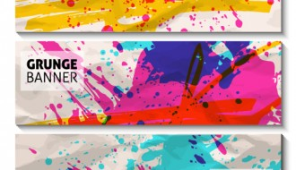 3 grunge watercolor banners – grunge banner colorati