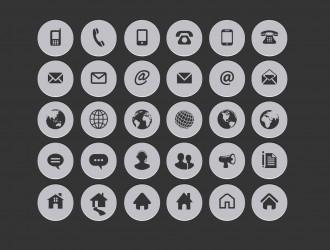 30 icone circolari internet – internet contact circle icons