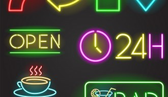 loghi luminosi – colored light sticks restaurant symbol and logos