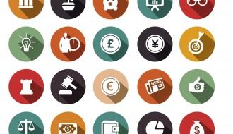 20 icone circolari economia – economy circle icons