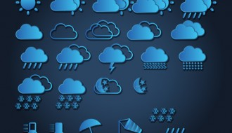 25 icone meteo – weather blue icons