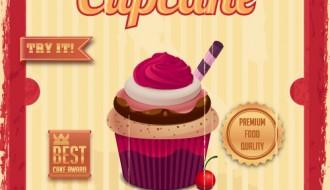 Cupcake in cornice grunge