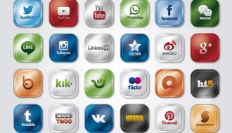 24 social media sites, apps icons, logos – icone social