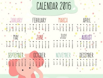 calendar 2016 with cartoon elephant – calendario con elefante