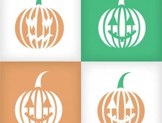 4 zucche Halloween icone – Halloween pumpkins icons