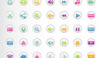 35 bottoni media player – colorful media player buttons