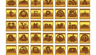 35 icone dorate social media – gold social media icon set