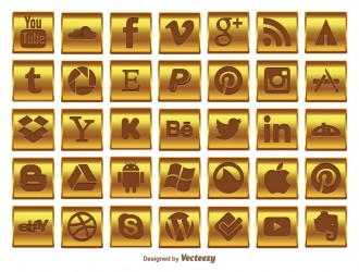 35 icone dorate social media – gold social media icon set