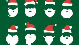 8 sagome Babbo Natale barba, cappello – Santa Claus beard, hat set