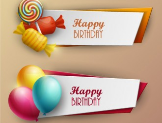 2 banner compleanno – sweets, balloons, happy birthday