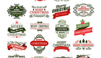 28 Merry Christmas badges – cartellini Natale