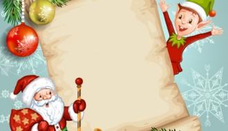 Babbo Natale, elfo, pergamena, regali, palline – Santa Claus, elf, parchment, gifts, Christmas balls