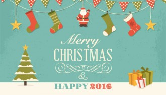 bigliettino auguri Natale – retro Christmas wishes card