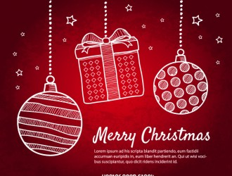 sfondo Natale con palline – red Christmas background with doodle Christmas balls