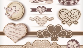 16 decorazioni San Valentino – beige Valentine day labels