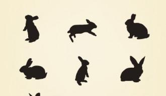 12 conigli – rabbits silhouette